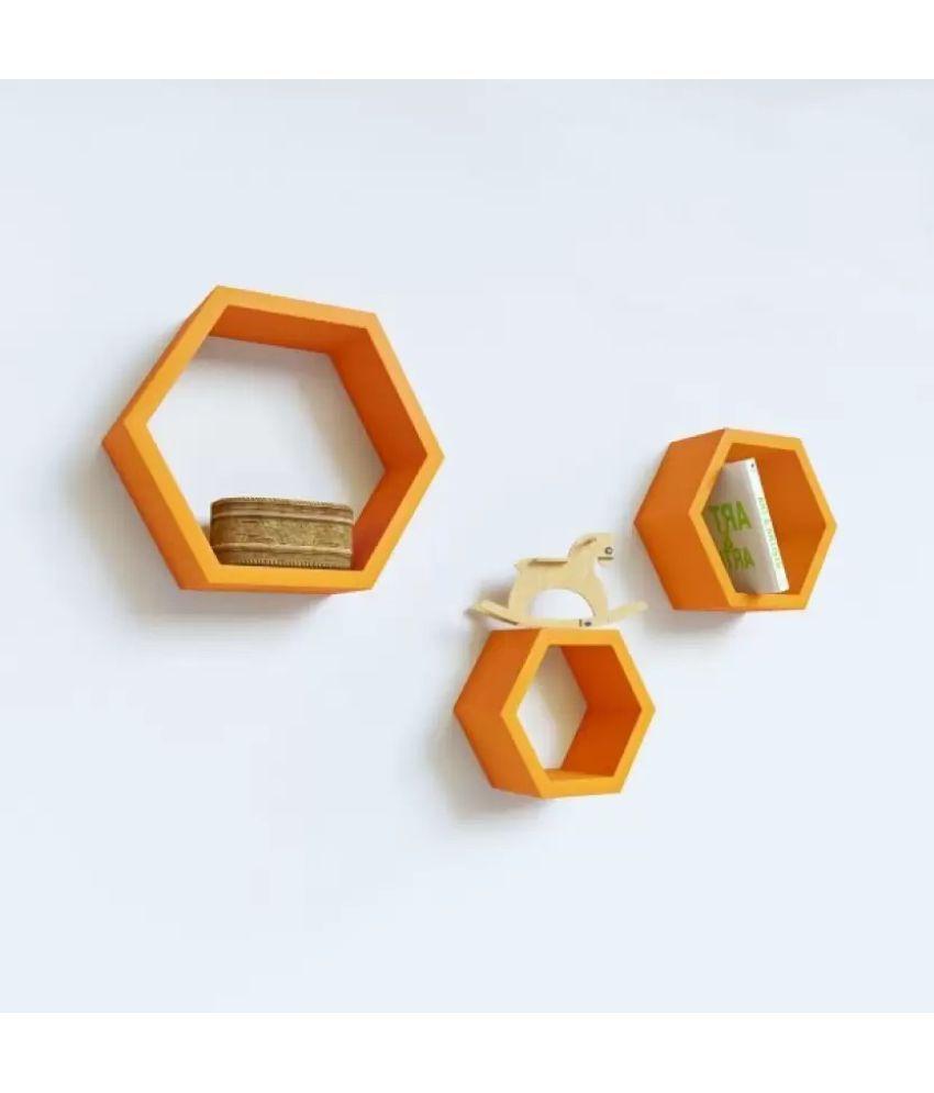 Onlineshoppee Floating Shelf/ Wall Shelf / Storage Shelf/ Decoration Shelf Orange - Pack of 3