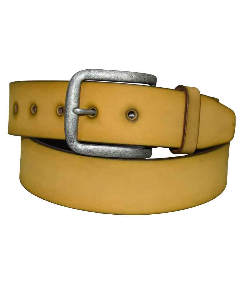 Pellezzari Yellow Leather Casual Belts