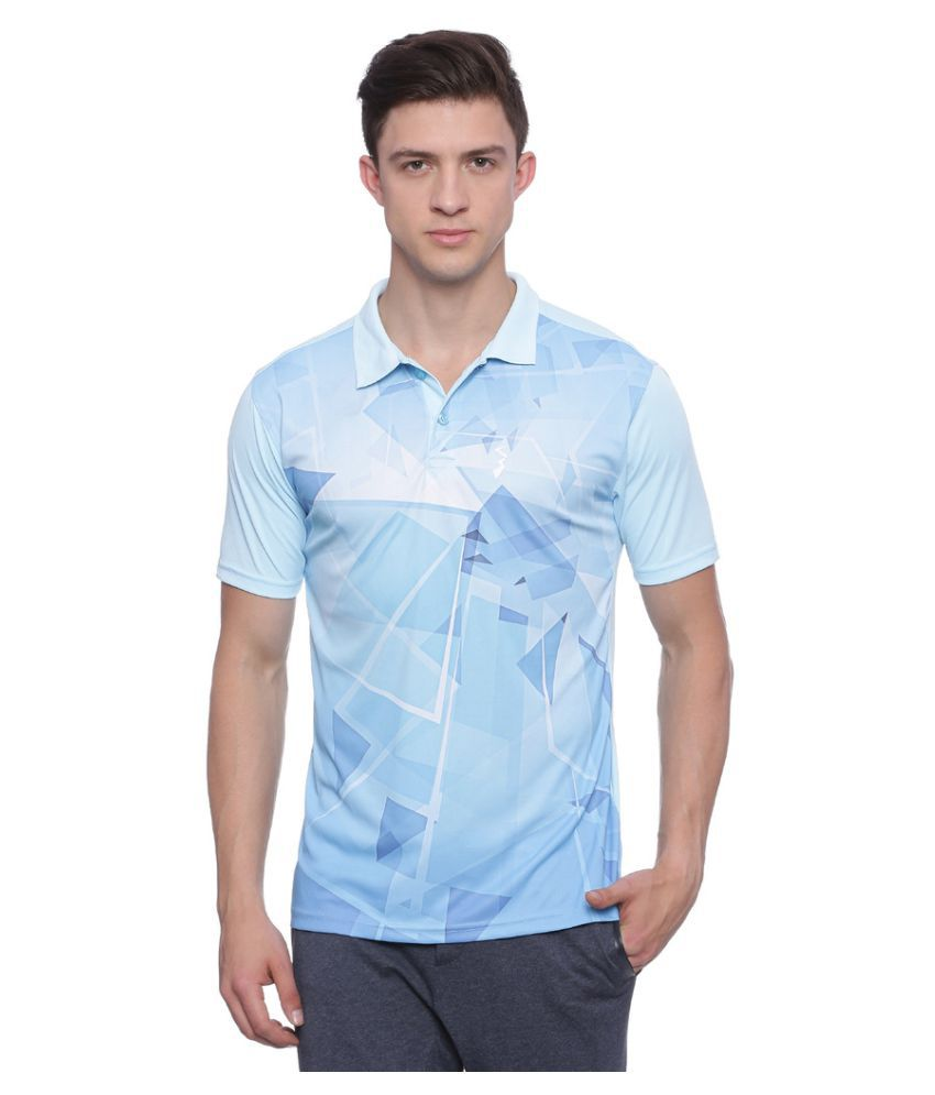 Campus Sutra Blue Polyester Polo T-Shirt Single Pack