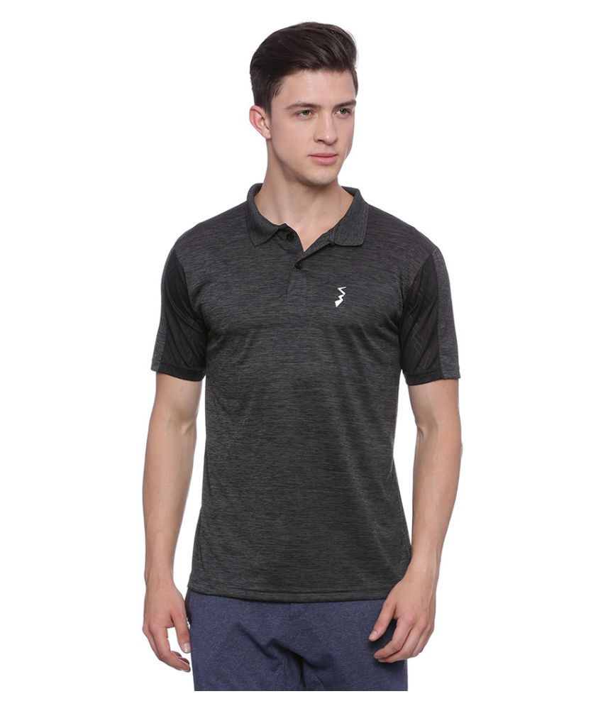 Campus Sutra Grey Polyester Polo T-Shirt Single Pack