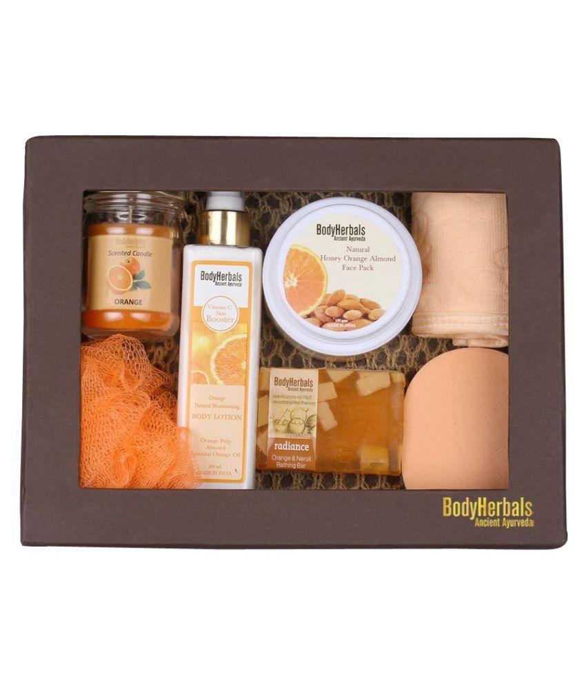 BodyHerbals Natural Orange Skin Care Set Skin Whitening Bath Kit Pack of 7