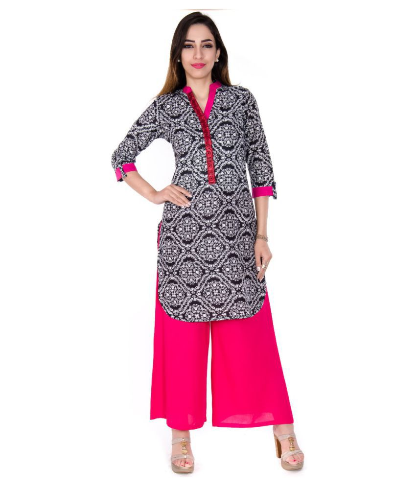 Teej Multicoloured Cotton Straight Stitched Suit