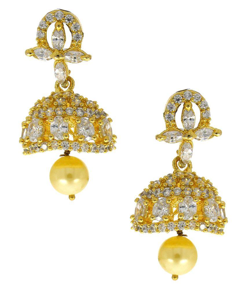 Anuradha Art Golden Designer Jhumki Earrings