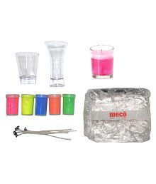 Asian Hobby Crafts Candle Making Kit Contents: 250g Transparent Gel Candle Wax, 5 Colors, 5 Candle Wicks, 2 Acrylic Candle Container.