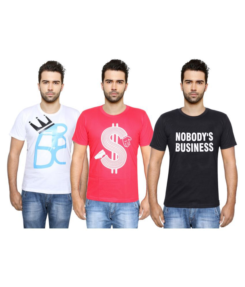 Indiweaves Multi Round T-Shirt Pack of 3