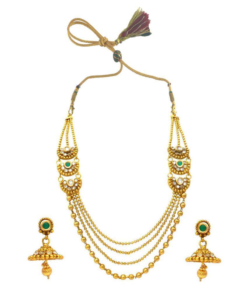 Rejewel Golden Designer Necklace Set