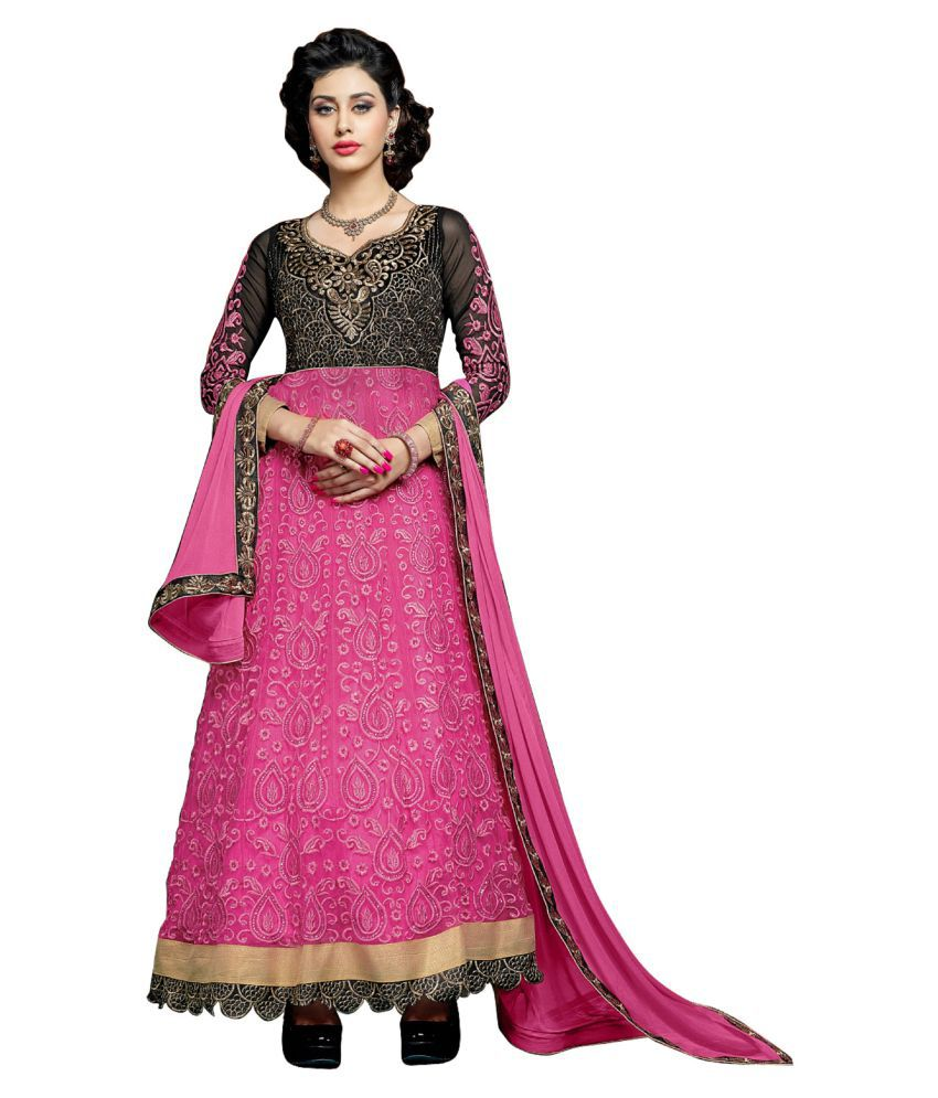 Kalish Pink Net Dress Material