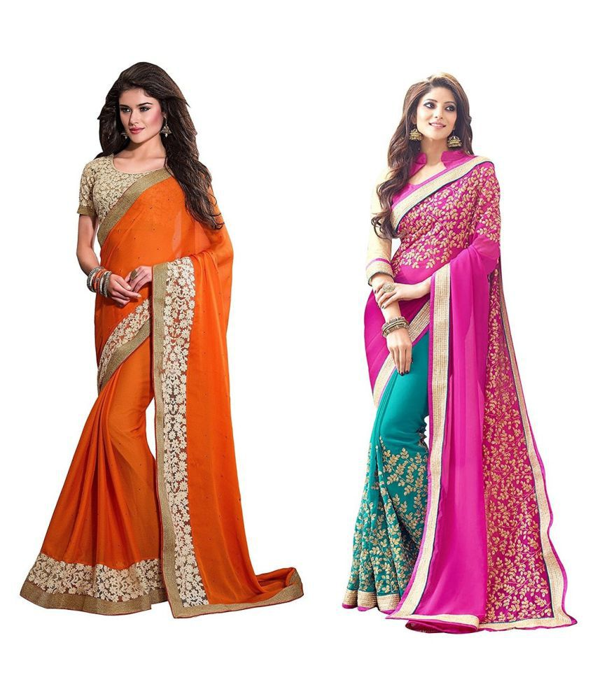 TexStile Multicoloured Georgette Saree Combos