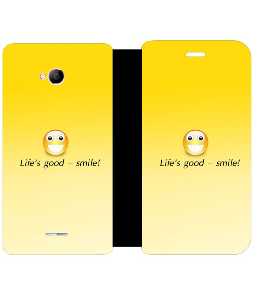 Micromax Canvas Spark 4G Flip Cover by Skintice - Yellow