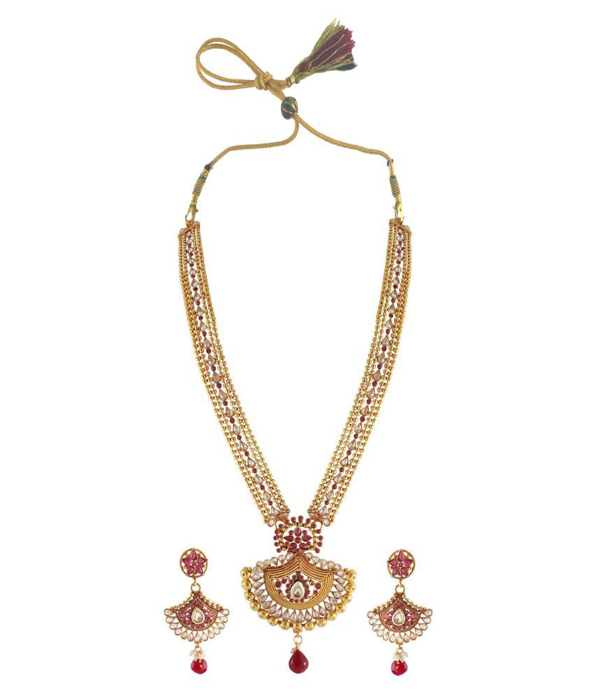 Rejewel Antique 22K Gold Plated Necklace Set For Women