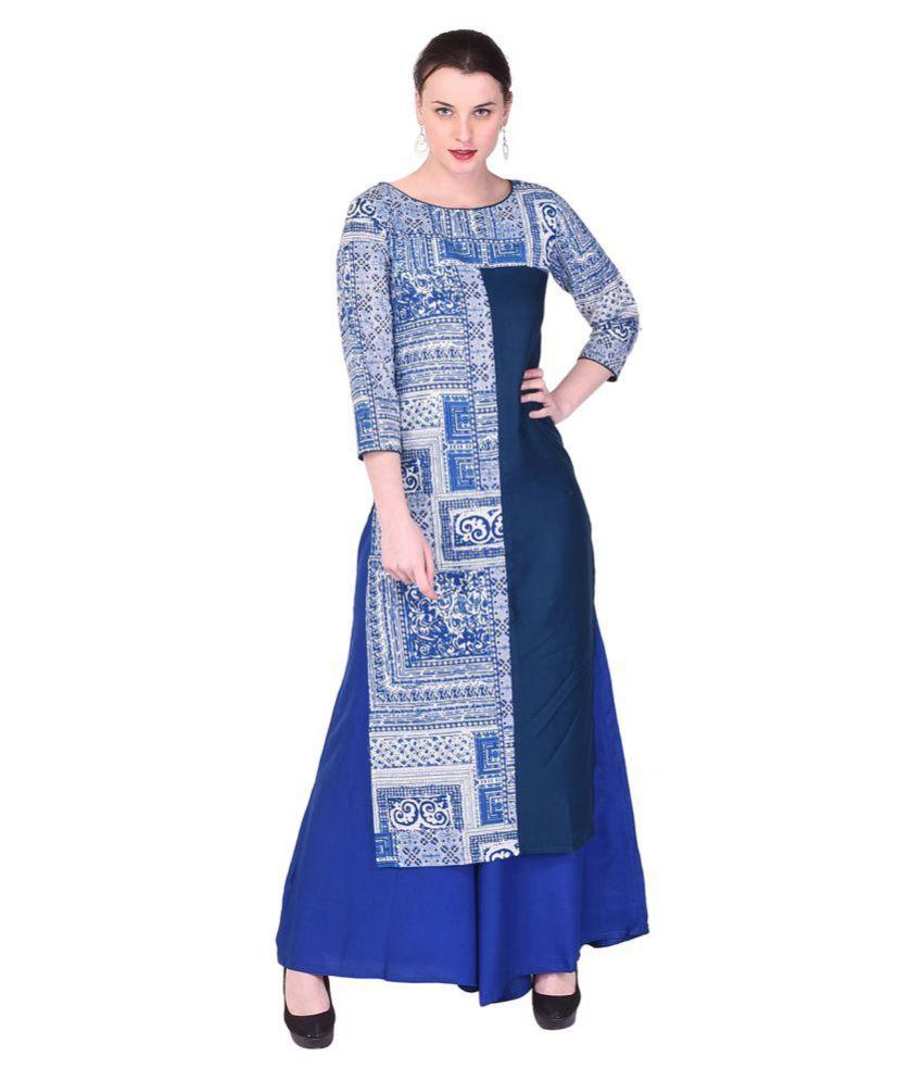 Indiwest Blue Cotton Straight Kurti