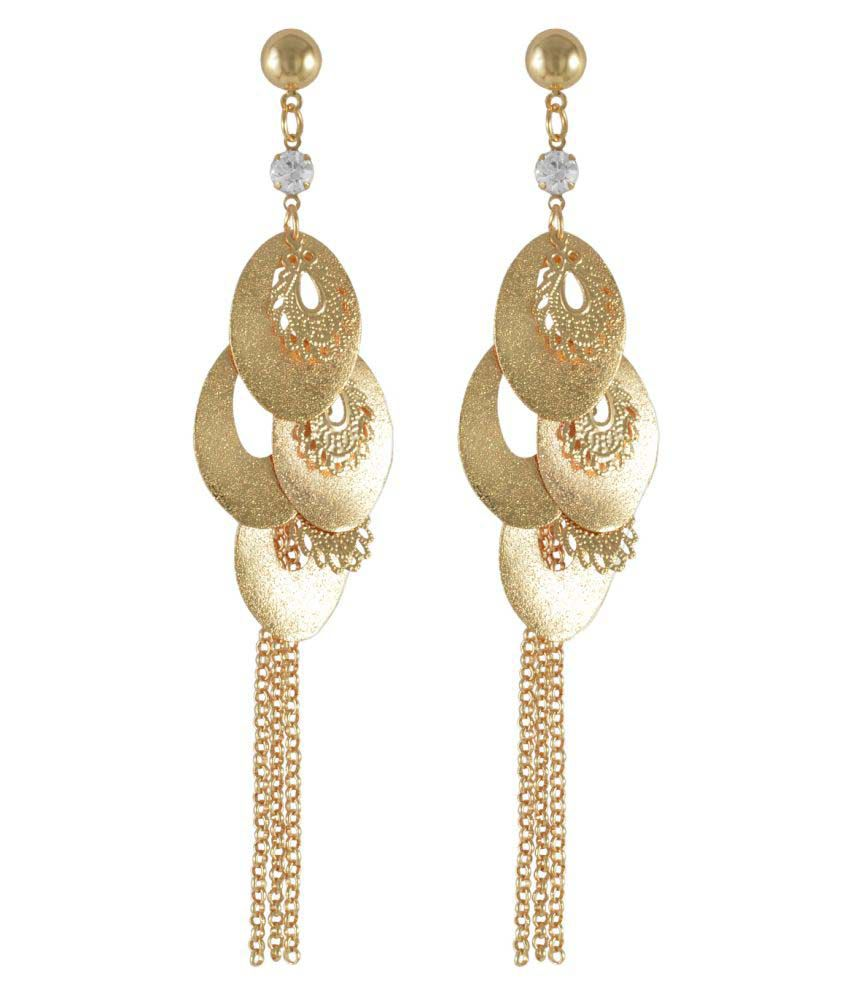 Sarah Oval Charms Long Hanging Earrings for Women - Gold