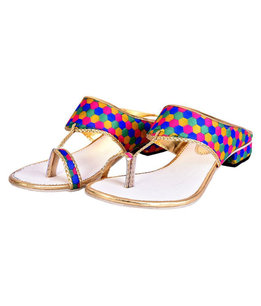Halowishes Multi Color Flat Ethnic Footwear