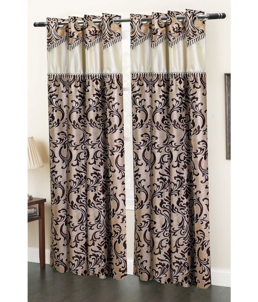 Homefab India Set Of 2 Window Eyelet Curtains Embroidered