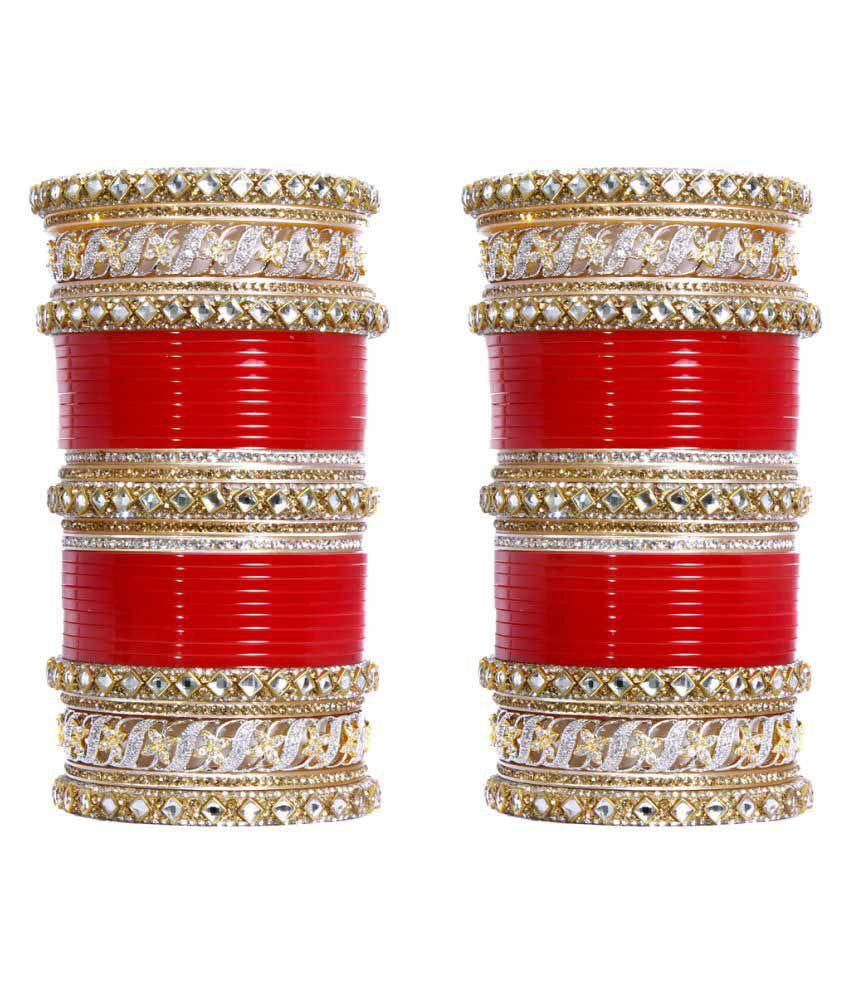 MN Fashion Kundan Red Color Wedding Chura for Women