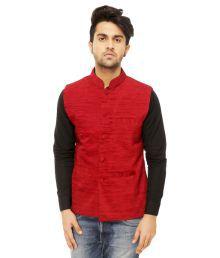 Olwoz Red Nehru Jacket