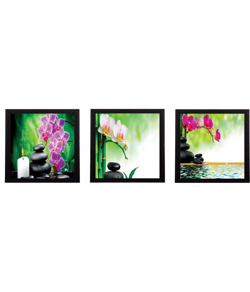 EcraftIndia Colorful Floral Satin Matt Texture UV Art  Multicolor Wood Painting With Frame Set of 3