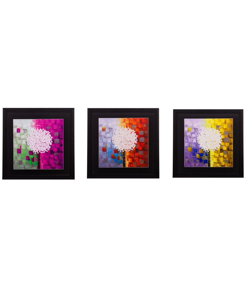 eCraftIndia  Abstract Design Satin Matt Textured Framed UV Art  Multicolor Wood Painting With Frame Set of 3