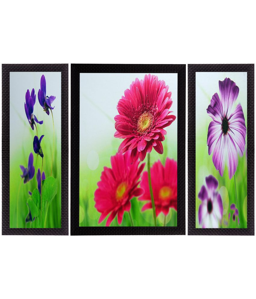 eCraftIndia Colorful Botanical Floral Satin Matt Texture UV Art Wood Painting With Frame Set of 3