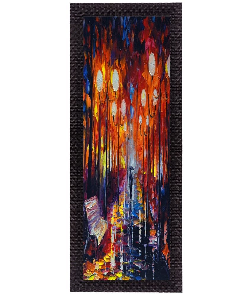 eCraftIndia Colorful Scenic Satin Matt Texture UV Art  Multicolor Wood Painting With Frame Single Piece