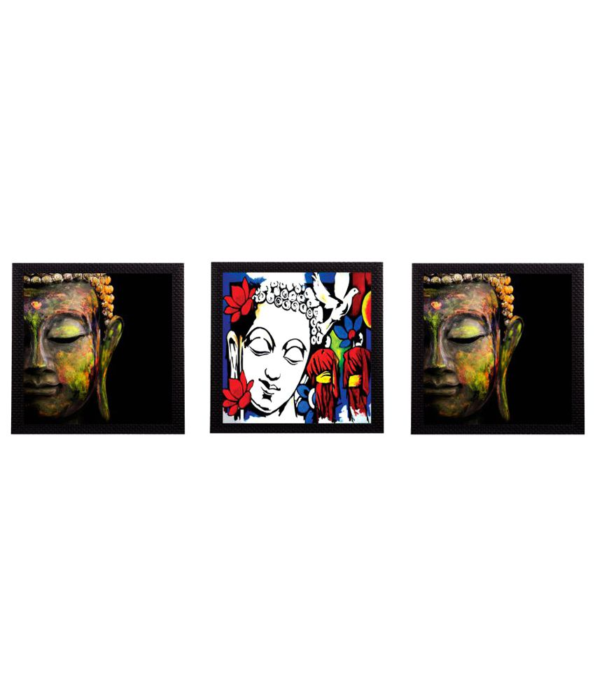 eCraftIndia  Lord Buddha Satin Matt Texture UV Art Multicolor Wood Painting With Frame Set of 3