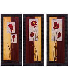 ECraftIndia Botanical Design Wood Painting With Frame Set Of 3