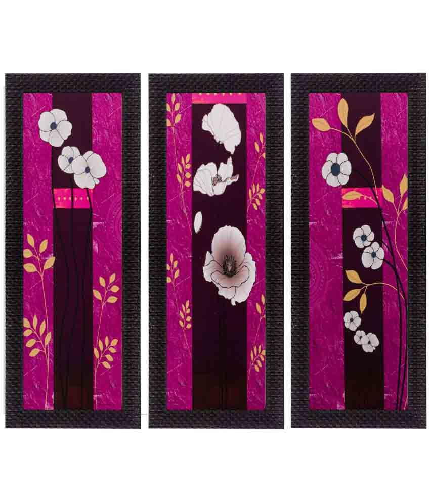 eCraftIndia  Botanical Design Satin Matt Texture Framed UV Art  Multicolor Wood Painting With Frame Set of 3
