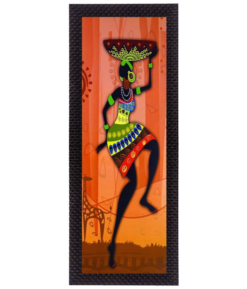 eCraftIndia  Colorful Tribal Woman Satin Matt Texture UV Art  Multicolor Wood Painting With Frame Single Piece