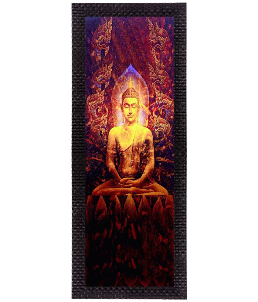 eCraftIndia Enlightening Lord Buddha Satin Matt Texture UV Art  Multicolor Wood Painting With Frame Single Piece