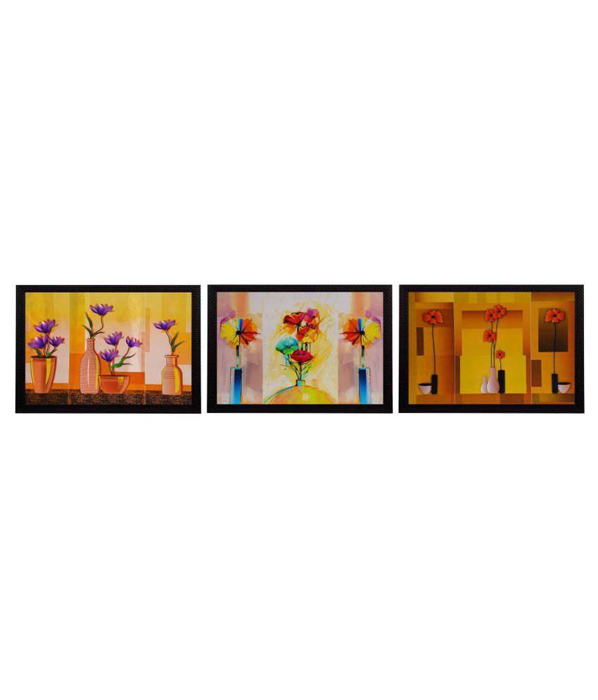 eCraftIndia Gorgeous Vase Flower Satin Matt Texture Wood Painting With Frame Set of 3