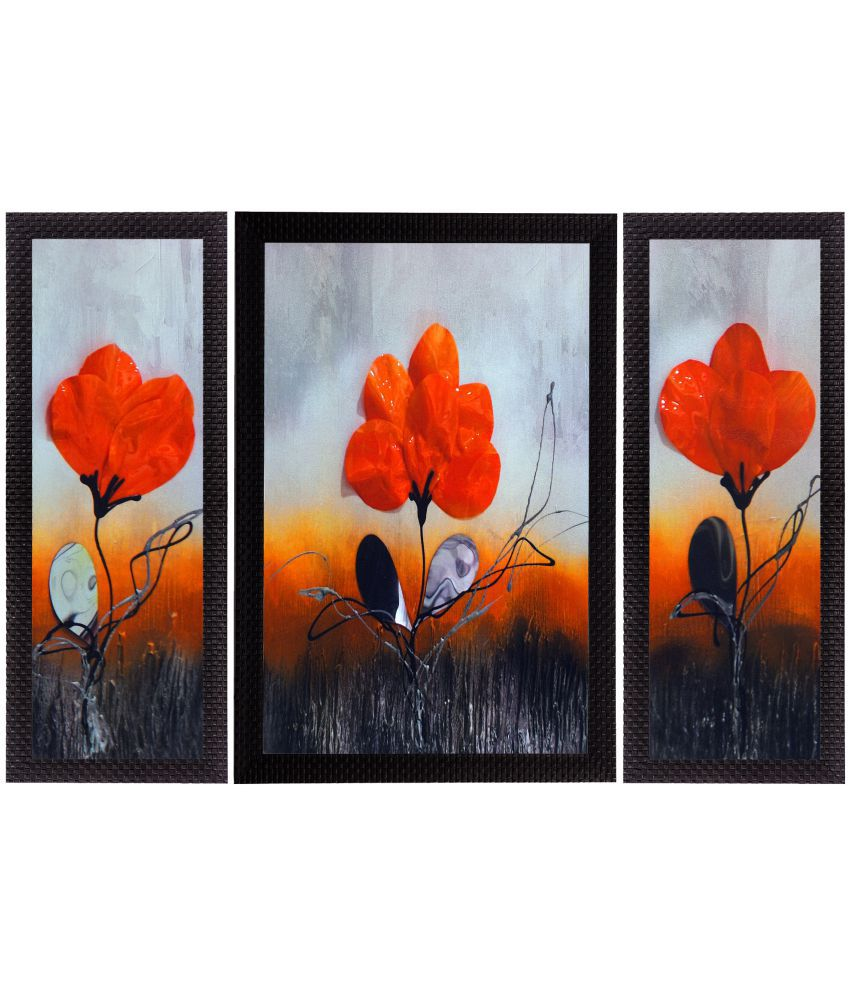 eCraftIndia  Mesmerizing Floral Satin Matt Texture UV Art  Multicolor Wood Painting With Frame Set of 3