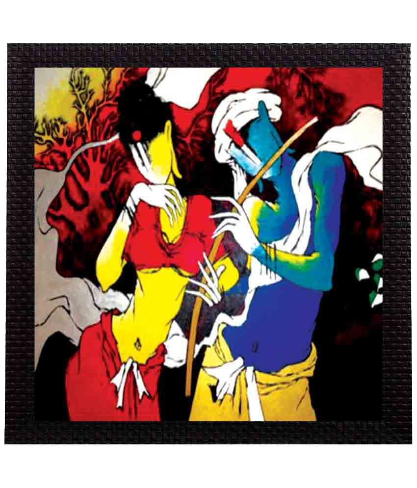 eCraftIndia Mythical Radha Krishna Satin Matt Texture UV Art Wood Painting With Frame Single Piece