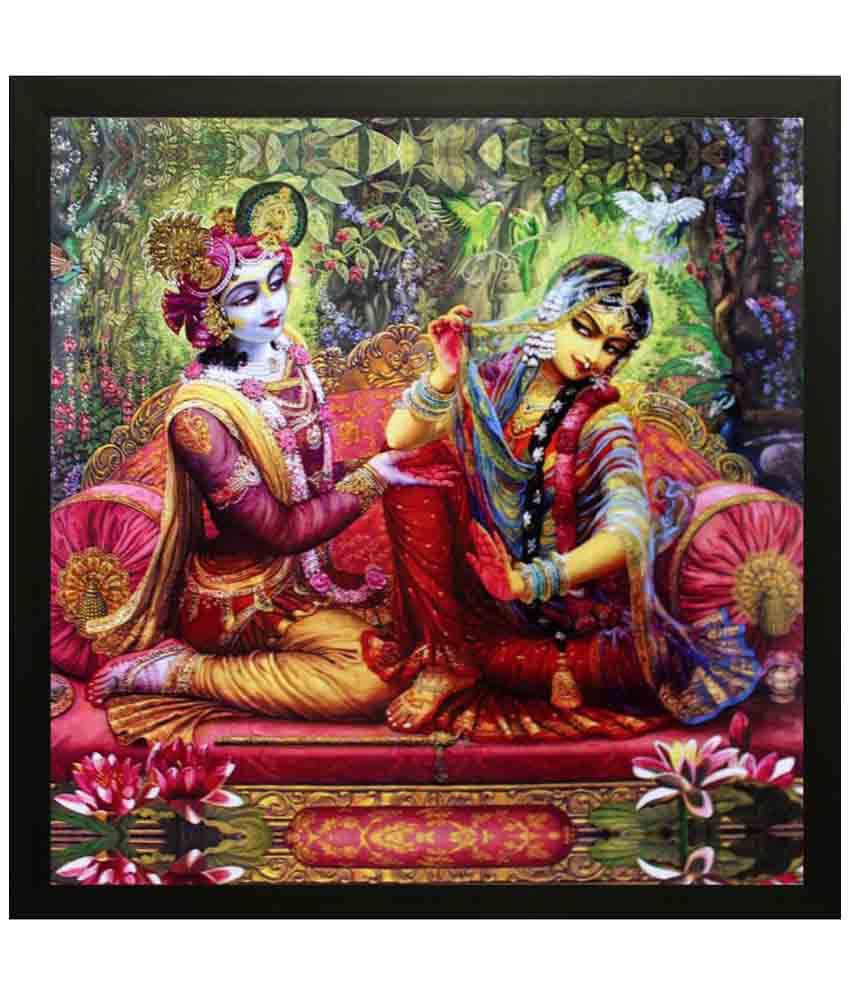 eCraftIndia Radha Krishna Satin Matt Texture Wood Painting With Frame Single Piece