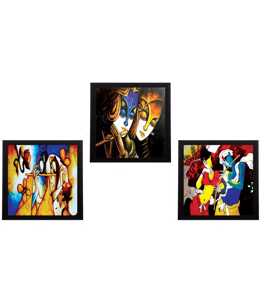 ECraftIndia  Colorful Radha and Krishna Satin Matt Texture UV Art  Multicolor Wood Painting With Frame Set of 3