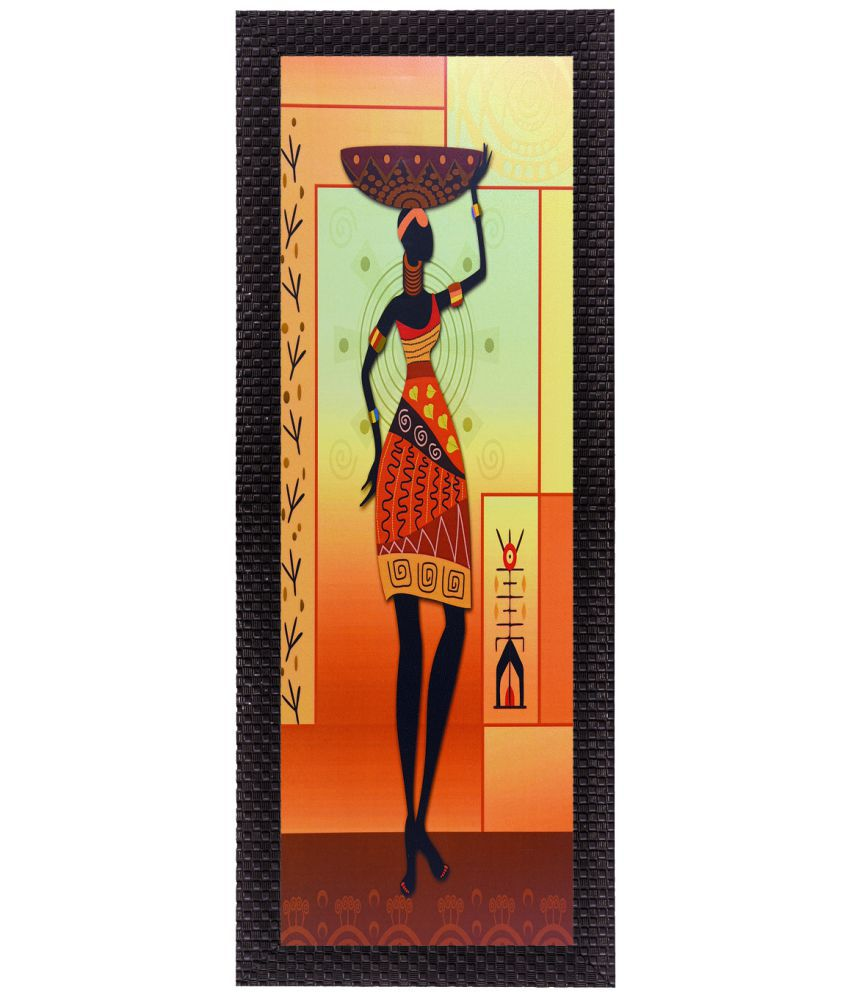 eCraftIndia Tribal Woman Wood Painting With Frame Single Piece