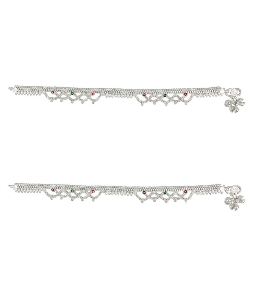 JewelFactory 24 Kt Silver Plated German Silver Anklet
