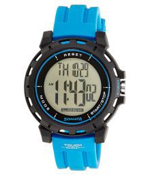 Sonata Ocean Series Digital Blue Mens Watch - 77037pp02