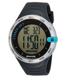 Sonata Digital Black Silicon Mens Watch
