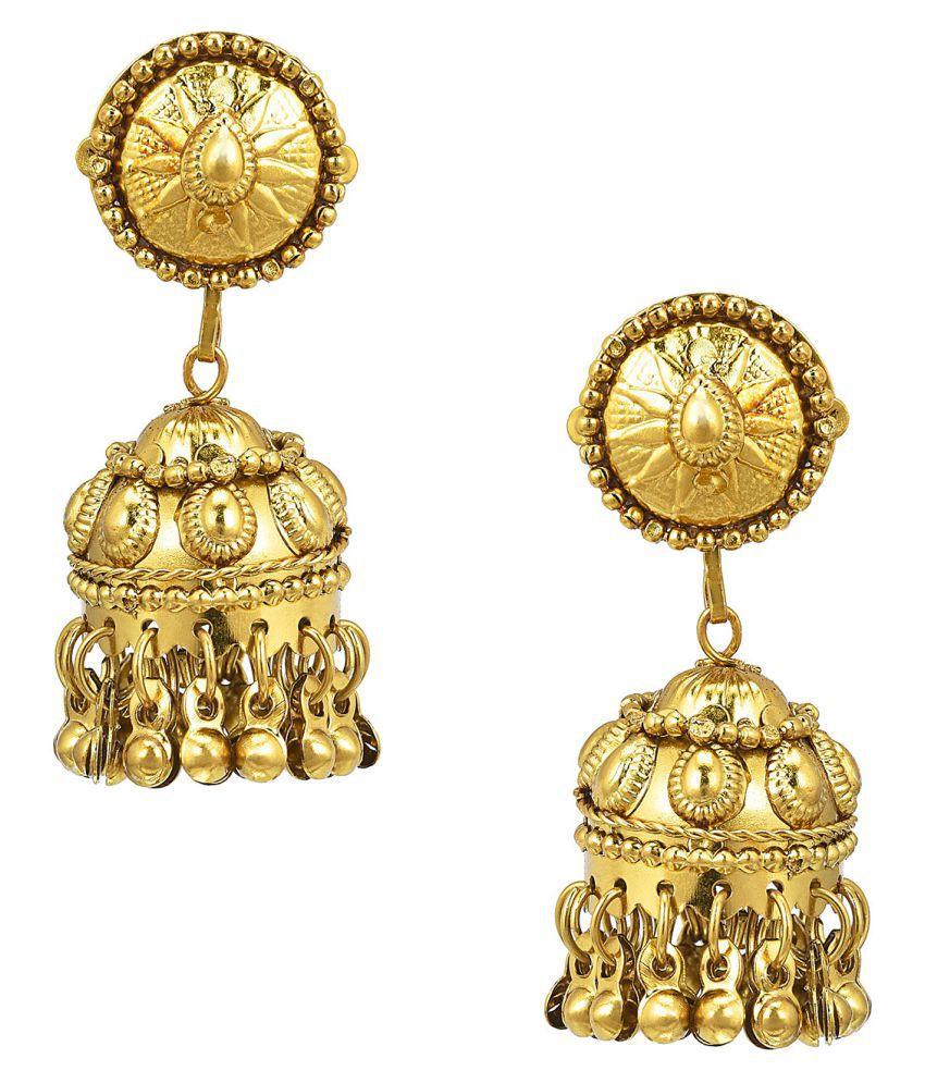 Shining Jewel Golden Jhumki Earrings
