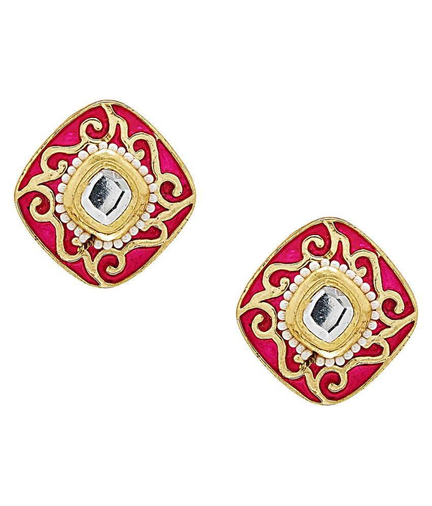Shining Jewel Red Brass Studs