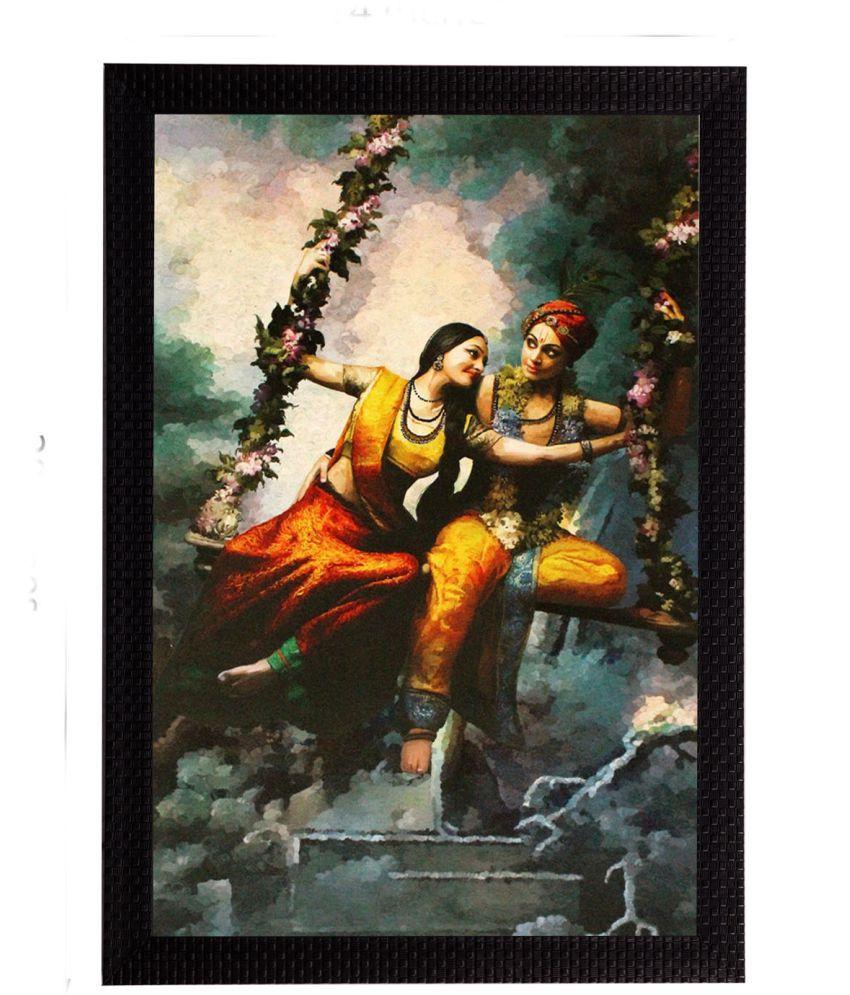 eCraftIndia Radha Krishna Satin Matt Texture Framed UV Art  Multicolor Wood Painting With Frame Single Piece