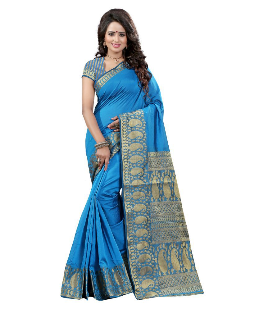 Mada Blue Tussar Silk Saree