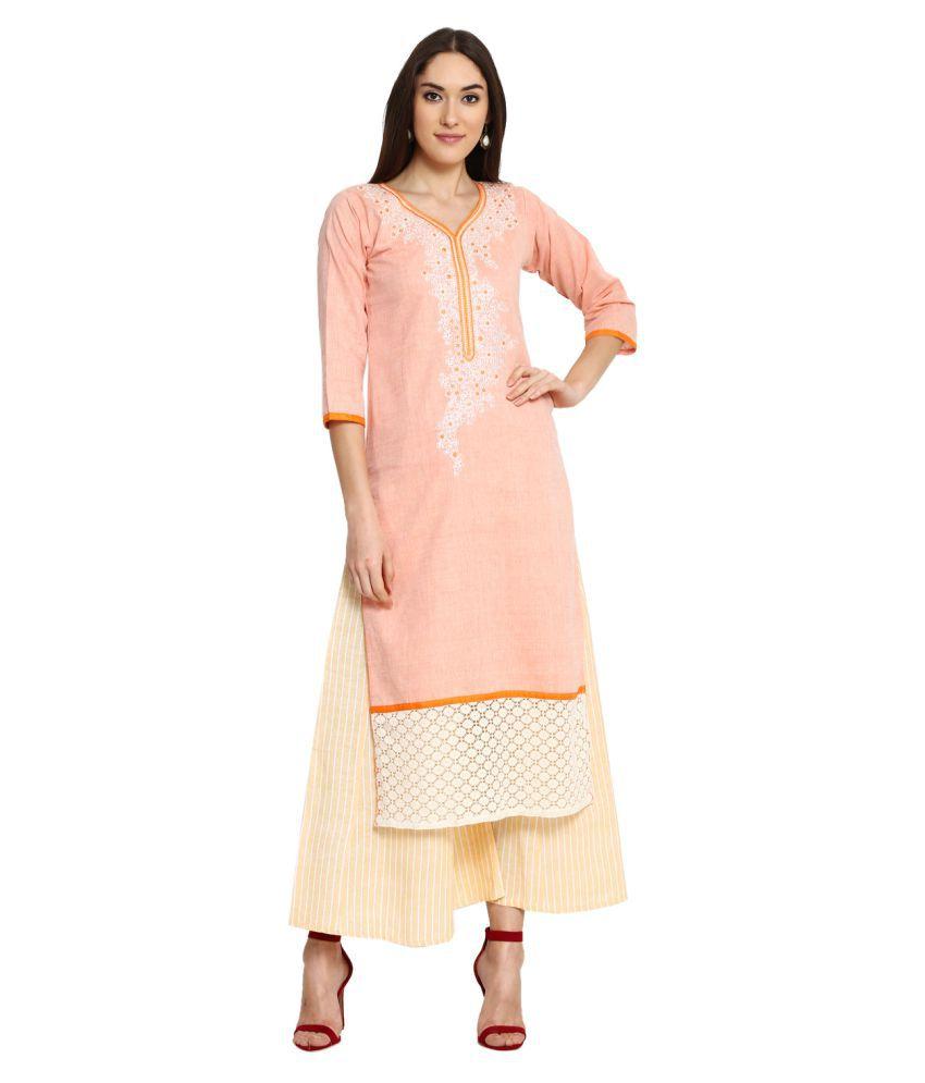 Aujjessa Orange Khadi Straight Stitched Suit