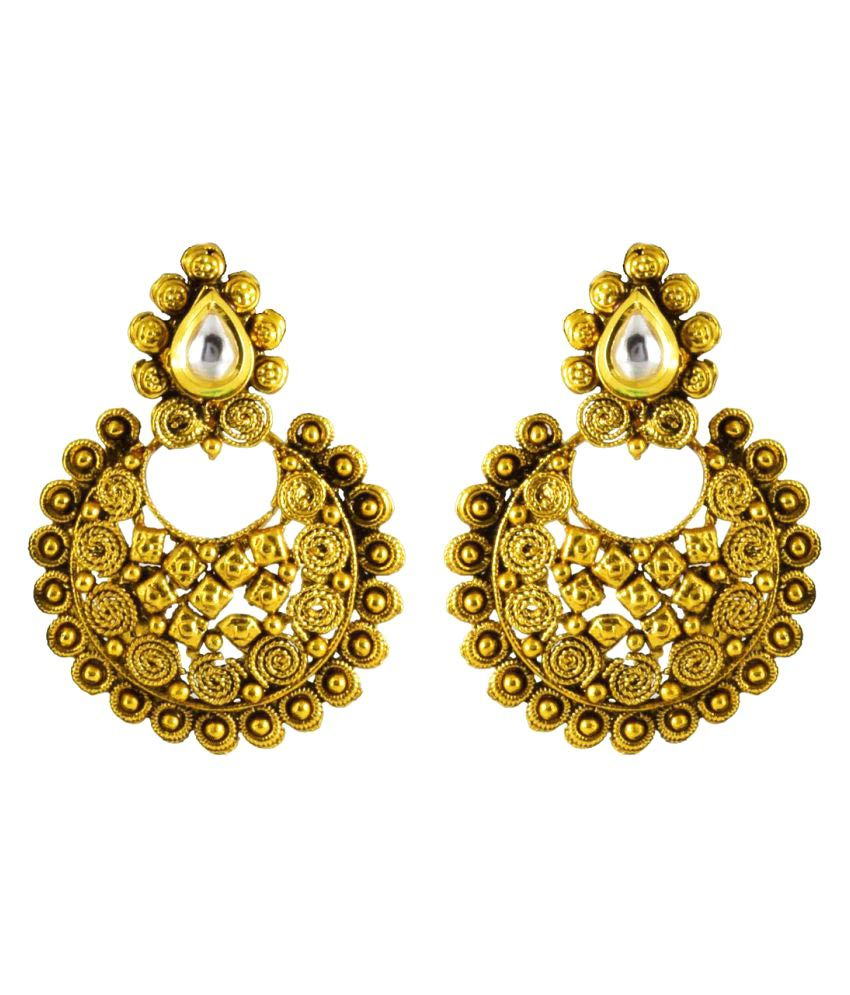 Zanasha Golden Alloy Chandelier Earrings
