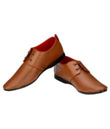 Wollsmart Brown Brogue Artificial Leather Formal Shoes