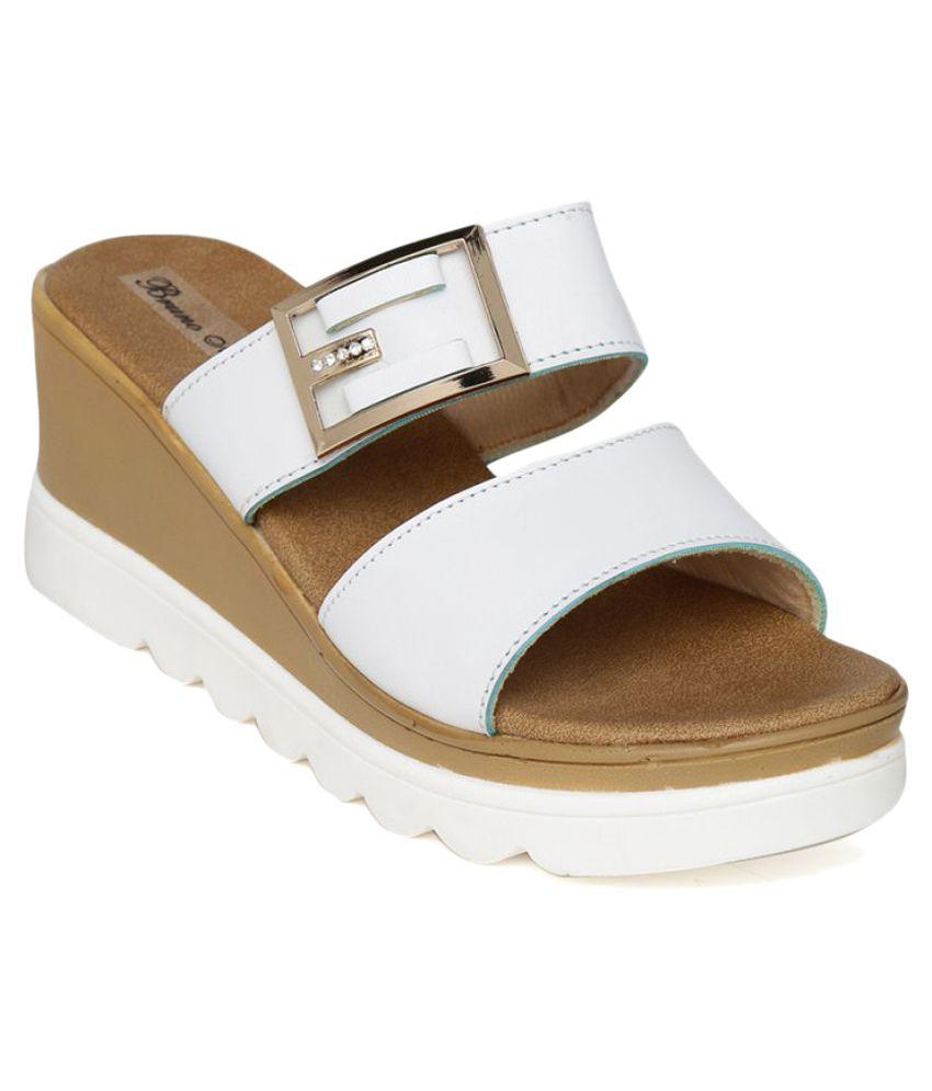 Bruno Manetti White Wedges Heels
