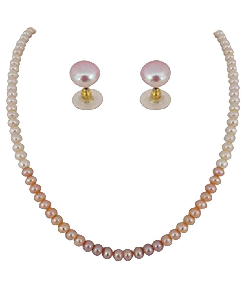 Ratnapearls&Collection 92.5 Rose Gold Necklace Set