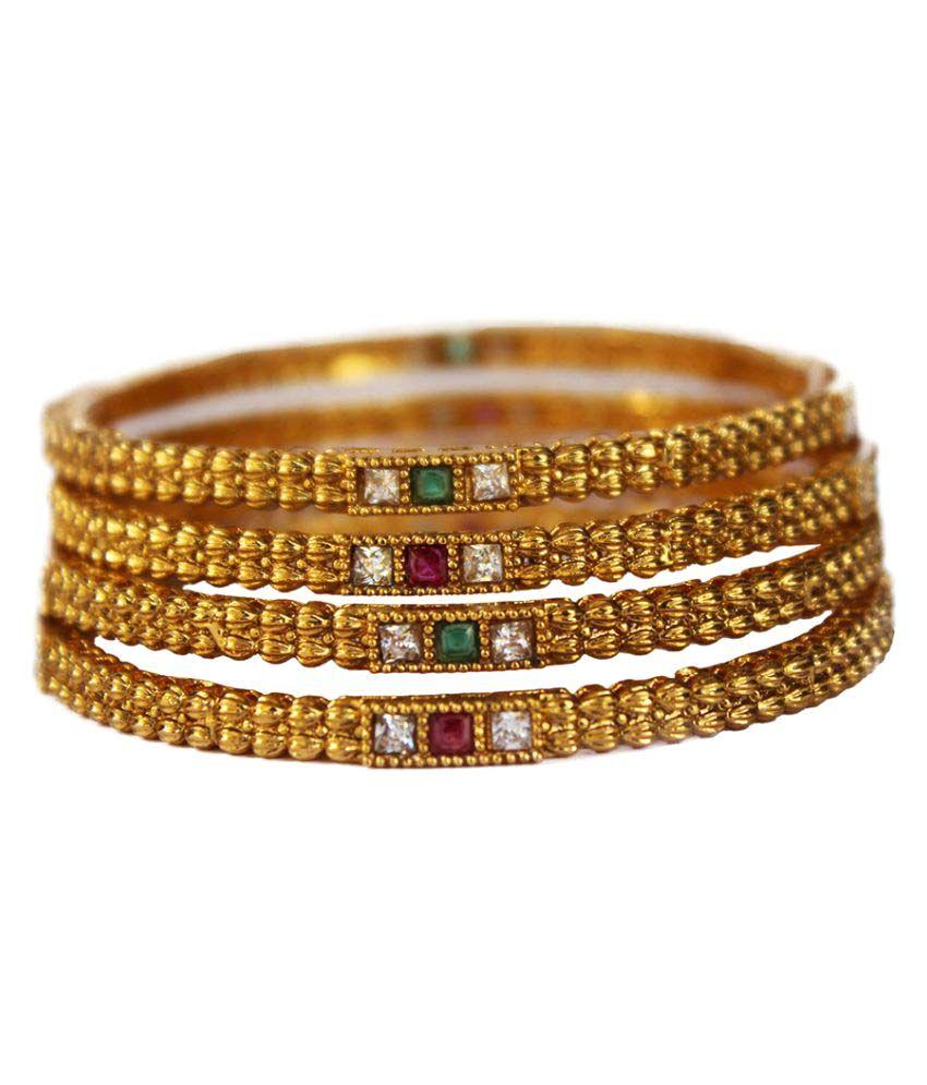 M K Art Jewellery Antique Bangles Set