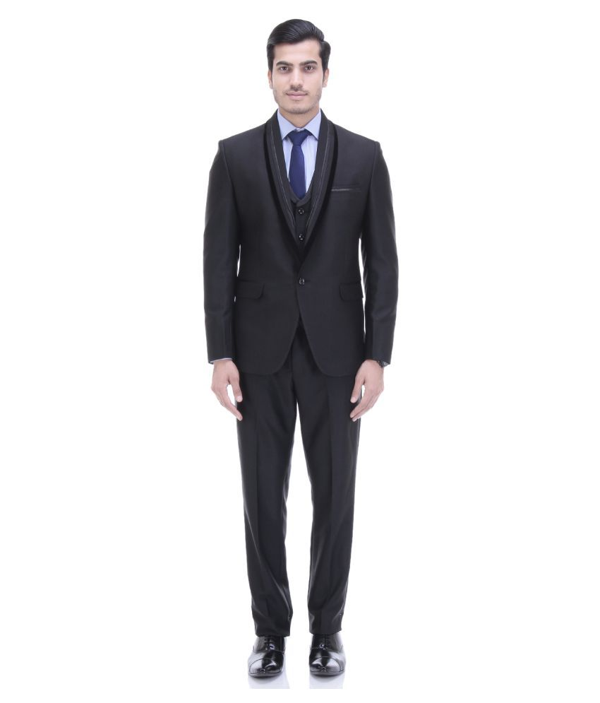 Tag 7 Black Solid Formal 3 Piece Suits