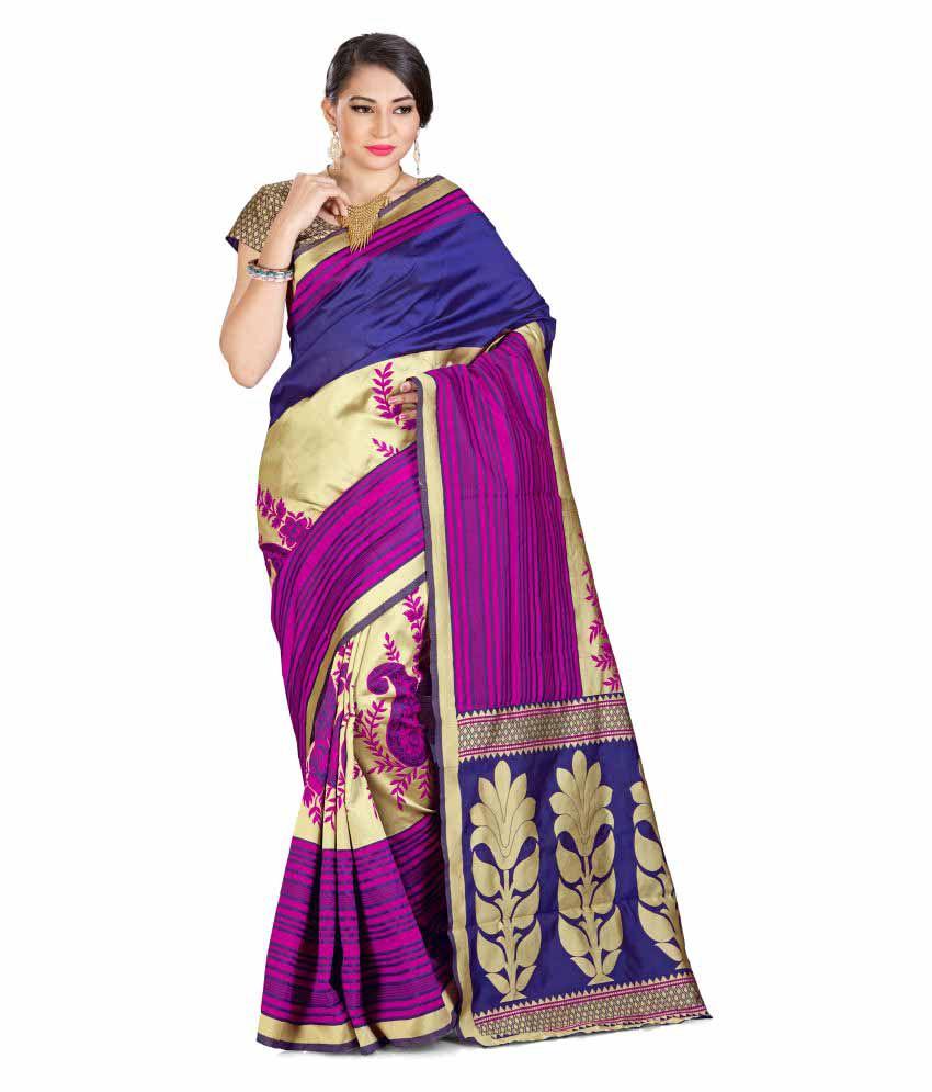 AdornMania Multicoloured Tussar Silk Saree